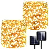 2-Pack Each 72ft 200LED Solar String Lights Outdoor, Super Bright Solar Lights Outdoor (Upgraded Oversize Lamp Beads), Waterproof 8 Modes Solar Fairy Lights for Party Wedding Garden Patio (Warm White)