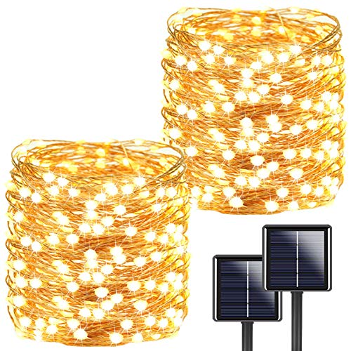 Ultra-Long 2-Pack Each 72ft 200LED Solar String Lights Outdoor, Brighter Solar Lights Outdoor (Upgraded Larger LED Beads), Waterproof 8 Modes Solar Fairy Lights for Party Garden Patio (Warm White)