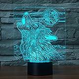 Jinson well 3d El lobo lámpara de mesa luz nocturna cambio de 7 colores LED luz de noche para...