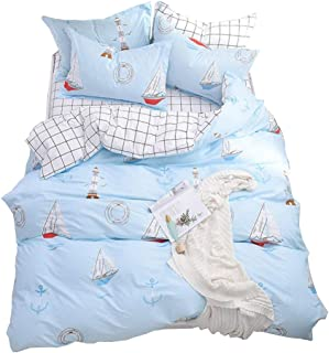 OTOB Children Cartoon Sailboat Bedding Set Cotton, 3 Piece Twin Kids Duvet Cover with Zipper Ties 1 Comforter Cover 2 Shams for Boys Girls Toddler, Home Textile Bed Set White Blue, Twin