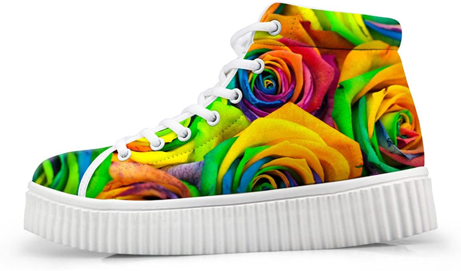 Mumeson Fashion Floral Women Platform Sneakers High Tops Athletic Walking shoes