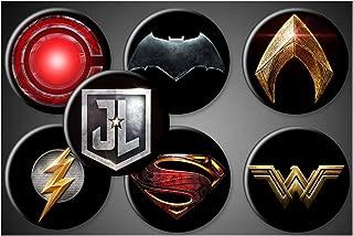 Justice League Movie Magnets or Pins DC Comics Superhero Symbols Set of 7 Batman Superman Wonder Woman Aquaman Flash Cyborg (1.75