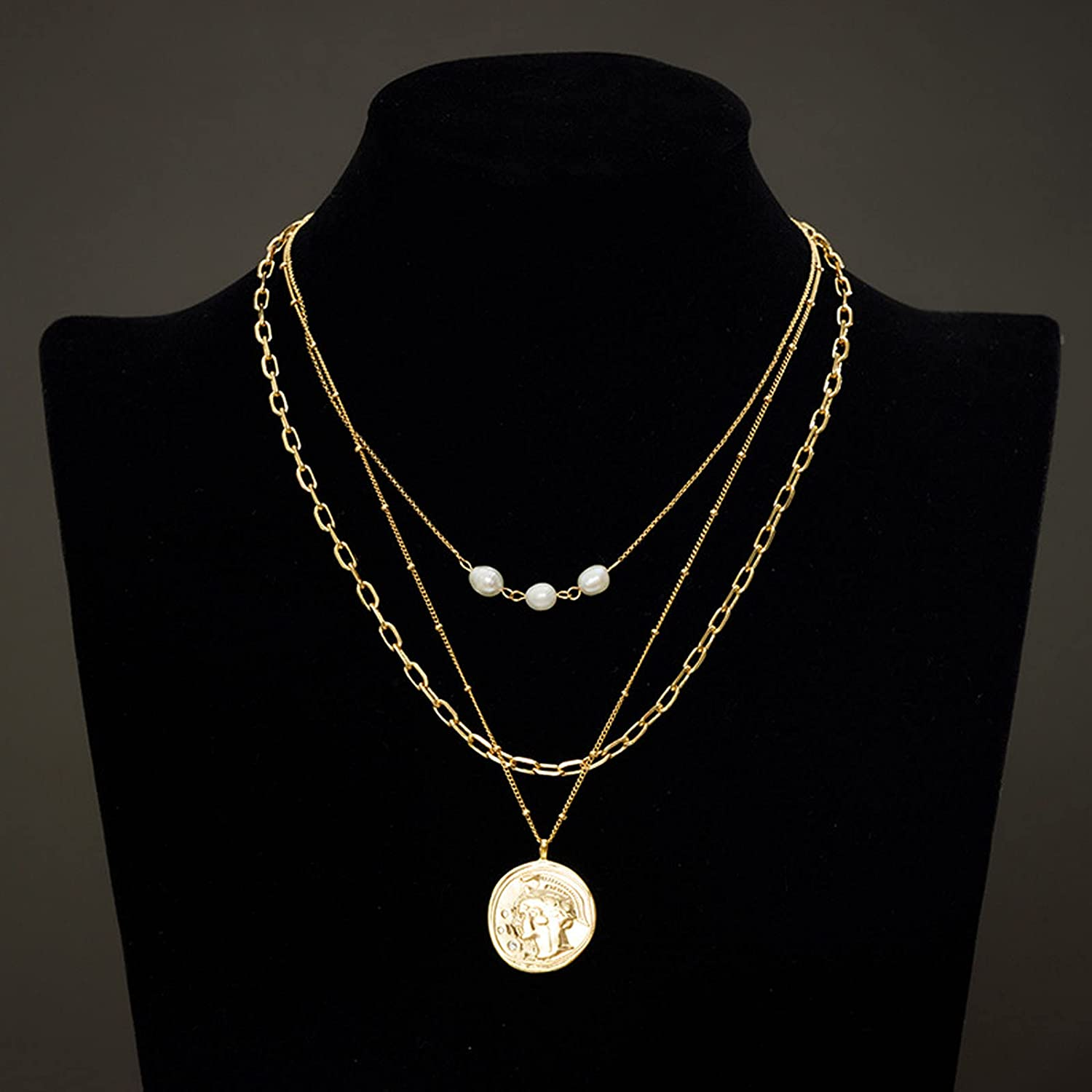 WANZPITS Fashion Multilayer Roman Head Coin Pendant Necklace Retro Exquisite Layered Collar Necklace Clavicle Chain Ladies Jewelry Gift,Gold