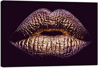 LevvArts - Purple Canvas Wall Art Woman Sexy Gold Lips Painting Prints on Canvas Giclee Wall Painting for Home Bedroom Salon Decor Stretched and Framed Ready to Hang