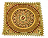 """Sana Enterprises Swiss Woven Brocade 7.75"""" Square Doily with Decorative Fabrics and Artfully Embroidered with Lavish Floral and Gold Borders"""
