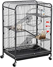 Yaheetech 37'' Metal Ferret Chinchilla Cage Indoor Outdoor Small Animals Hutch w/ 2 Front Doors/Feeder/Wheels for Squirrel Sugar Glider,Black