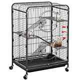 YAHEETECH 37'' Metal Ferret Chinchilla Cage Indoor Outdoor Small Animals Hutch w/ 2 Front Doors/Feeder/Wheels for Squirrel,Black
