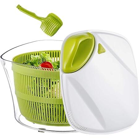 Focovida Essoreuse à Salade Grande Capacité 5L sans BPA, Essorage Efficace avec Nouvelle Poignée/Grille d'Evacuation d'eau, Essoreuse de Salade/Légumes Plastique Blanc/Vert, Pince 7cm Gratuit Inclus