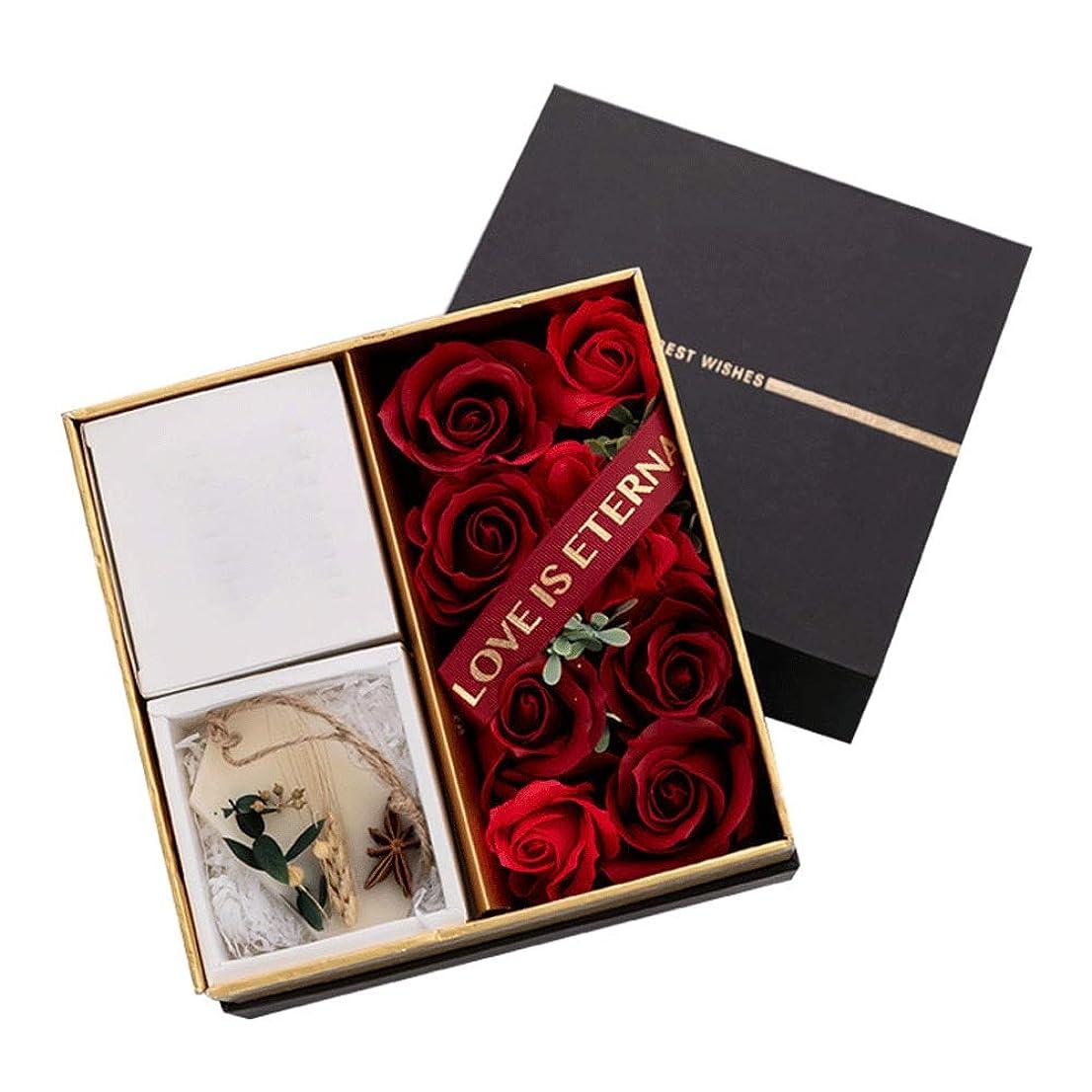 うっかりどれでも普遍的な手作り保存花 アロマテラピーキャンドルで枯れたバラのギフトボックス保存された花バラ彼女の恋人のための不滅の花ギフトバレンタインデー記念日誕生日感謝祭 プリザーブドフラワー (Color : Black, Size : 20cm*20cm*13cm)