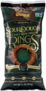 Unique Pretzels - Sourdough Craft Beer Pretzel Rings, Delicious Vegan Snack Pretzels Individual Packs, Large OU Kosher Pretzels, 11 Ounce Bags, 12 Pack