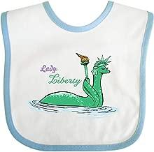 Inktastic Nessie Lady Liberty Baby Bib White/Blue