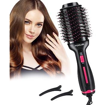 Forusi Hair Dryer Brush,Hot Air Brush,Hair Dryer & Volumizer, 3-in-1 Electric Air Hair Brush,Curler and Straightener for All Hair Types