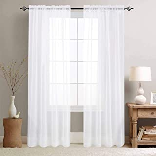 White Sheer Curtains for Living Room 84 Inch Length Window Treatment Sets Rod Pocket Voile Curtain Panels for Bedroom Sold in Pairs