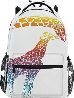 School Backpack Bookbag Cartoon Rainbow Mother And Kids Animal Giraffe Rucksack Daypack Waterproof for Middle School Travel Girls Boys Teen