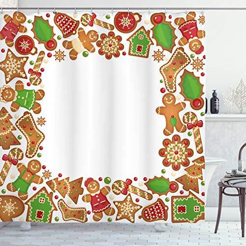 ABAKUHAUS Kinder Weihnachten Duschvorhang, Lebkuchen-Kekse, aus Stoff inkl.12 Haken Digitaldruck Farbfest Langhaltig Bakterie Resistent, 175 x 200 cm, Rot-grün-Braun
