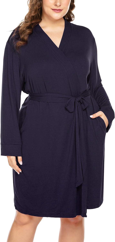 IN'VOLAND Women Plus Size Robes Long Sleeve Bath Robe Knit Bathrobe Soft Sleepwear Ladies Nightwear(16W-28W)