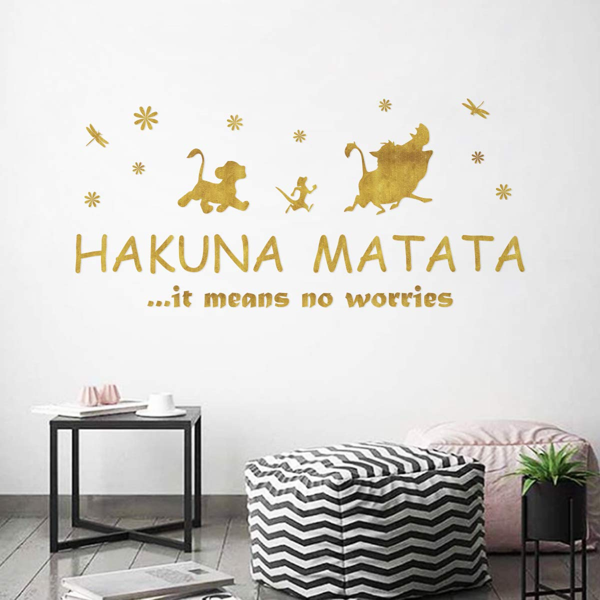 Ufengke Hakuna Matata Quotes Wall Stickers Golden Motivational Words Letters Wall Decals Nursery Wall Art Decor For Kids Bedroom Living Room Buy Online In Cambodia At Cambodia Desertcart Com Productid 171567040