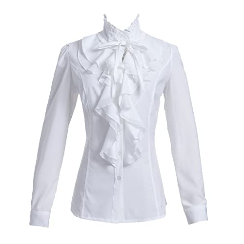 0c5e6cf1e45 Taiduosheng Women Shirts Lace Ruffle Neck Stand-Up Collar Button down Blouse  Long Sleeve OL