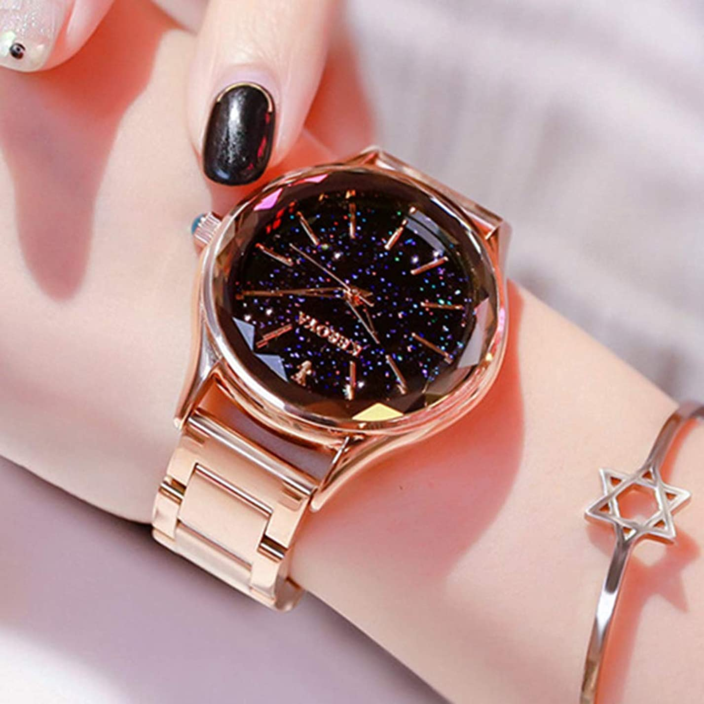 憂鬱パントリーシマウマ女性の腕時計シンプルなスチールベルトの腕時計女性の学生の腕時計クォーツレディースターの腕時計ダイヤモンドの腕時計カッタブルスカイスターの腕時計防水ガール腕時計,Gold