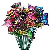 limewie 50 Stück Garten Schmetterling Stange, Garten Schmetterlinge Ornamente, Bunt Schmetterlinge Deko für Garten, Terrasse, Pflanztopf, Home