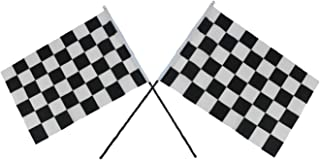 U S T Two (2) Checkered Black & White Cloth Racing Flags