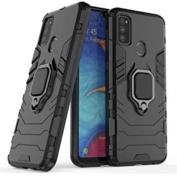 Designerz Hub® Samsung Galaxy M30s / Samsung Galaxy M21 Double-Layer Shockproof and Sturdy Hybrid Protective Shell with Bracket Function, Suitable for Samsung Galaxy M30s / Samsung Galaxy M21 - (Black)