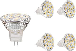 BOGAO MR11 GU4.0 3.5 W Led bombillas, Equival 25 - 35 W lámparas halógenas AC/DC 12 V, 350 lm, 120 ° Flood viga, empotrable, iluminación de la pista, luz blanca cálida (3000 K), 4 unidades