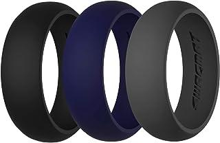 خاتم زفاف سواجمات من السيليكون للرجال والنساء - 3 حزم ومنفردة - أربطة مطاطية سوداء ورمادية وأزرق للرجال - بعرض 8.7 ملم.