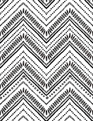 ConCus-T - Papel pintado autoadhesivo de vinilo bohemio para cocina, papel de contacto, diseño de flecha, patrón geométrico de Chevron Flecha, color blanco y negro 45 × 300 cm