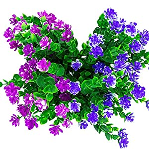 Silk Flower Arrangements Wootkey Artificial Flowers 4 Pack Outdoor UV Resistant Plants Shrubs Boxwood Plastic Leaves Fake Bushes Greenery for Window Box Home Patio Yard Indoor Garden Light Office Wedding Decor Wholesale
