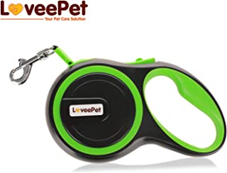 LoveePet Premium Dog Retractable Leash 16 ft with Chrome Plated Snap Hook, Ergonomic Non-Slip Handle and Sturdy Material – Green Medium Leash for Dogs up to 44 lbs