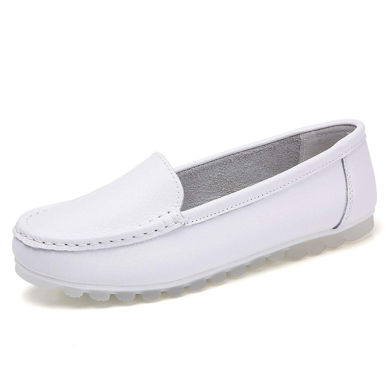 プライバシー抑圧する型[YYX0412] ナースシューズ 介護靴 白 レザー フラット 女性専用 病院 軽量 モカシン 通勤 妊娠用 滑りにくい 痛くない 激安 スリッポン 白 25.0cm