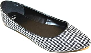 GAP Women's Synthetic Wool Black Gray Houndstooth Check Plaid Ballet Flats
