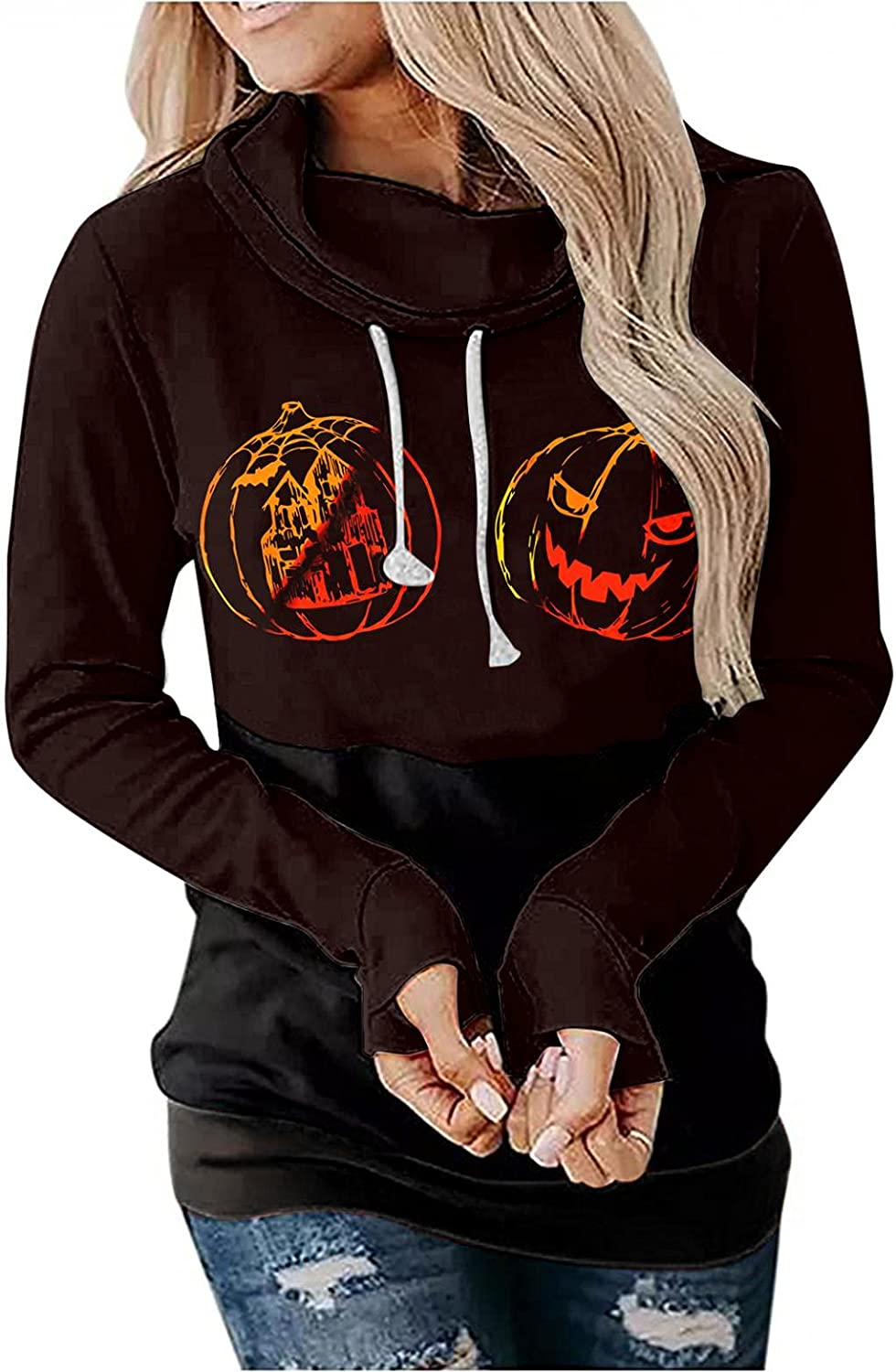 Halloween Hoodie for Women Long Thu Free Shipping New Sleeve Seattle Mall Pumpkin Witch Printed