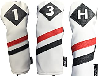 Majek Retro Golf Headcovers White Red and Black Vintage Leather Style 1 3 H Driver Fairway Wood and Hybrid Head Cover Classic Look