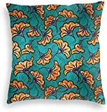 YPPDPP Blue and Orange African Wax Fabric Pattern Velvet Housse de Coussin Élégant Pillow Cases Jeter taies d'oreiller Throw Pillow Cover
