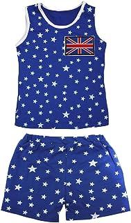 Petitebella Girls' British Flag Patriotic Stars Cotton Shirt Short Set