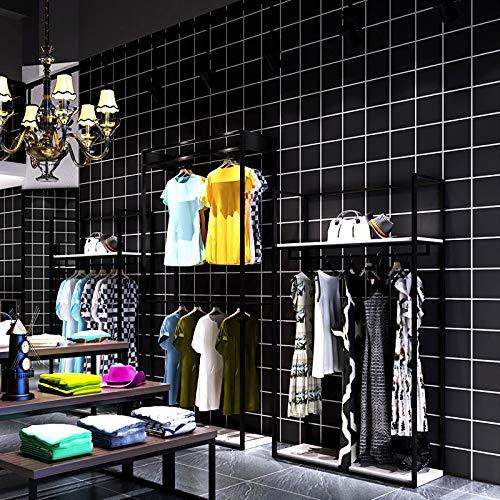 JKONG Schwarz Plaid Tapete Nordic Style Mode High-End Tapete Weiß schwarz 10m * 53cm