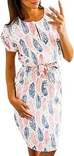 ed80eebc0e Uscharm Short Sleeve Dress Womens Casual V-Neck Leaf Feather Print Round  Neck Dress With