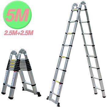 FIXKIT 5M(2,5M+2,5m) Escalera Plegable Aluminio, Escalera Telescópica, Escalera Alta Multifuncional Portátil para Loft,16 Escalones Antideslizantes y Ruedas en Parte Inferior, 150kg: Amazon.es: Bricolaje y herramientas