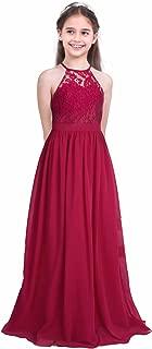 FEESHOW Big Girls Halter-Neck Lace Chiffon Long Dress Junior Bridesmaid Wedding Formal Party Evening Gown