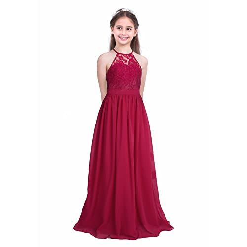 bb6faf2a5894 FEESHOW Big Girls Halter-Neck Floral Lace Junior Bridesmaid Dress Party  Wedding Long Gown