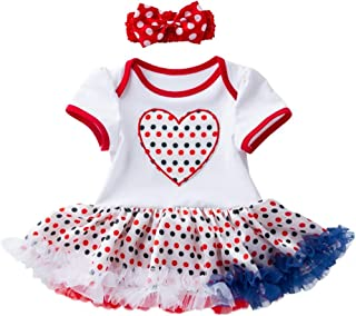 Swyss Newborn Baby Girls 4th of July Series Romper Bodysuits Dress with Headbands,Infant Independence Day Clothing
