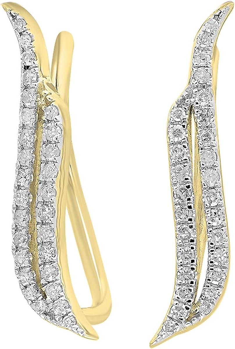 Dazzlingrock Collection 0.22 Carat (ctw) Round White Diamond Ladies Double Row Climber Earrings 1/4 CT