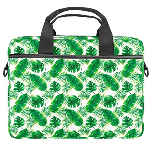 Laptop Bag Tropical Leaf Pattern Green Notebook Sleeve with Handle 13.4-14.5 inches Carrying Shoulder Bag Briefcase