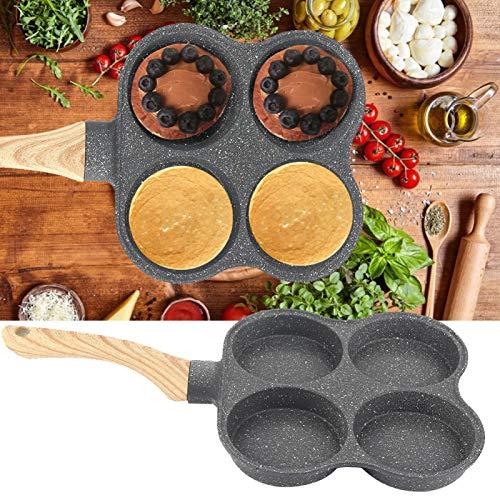 Sartén, sartén para tortilla Sartén de diseño de cuatro orificios para hamburguesas de huevo, desayuno, sartén para panqueques, tortilla para estufa de gas, cocina de inducción, estufa