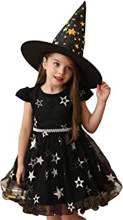 Byinns Girls Dress Halloween Party Costume Hat Princess Tutu Tulle Star Embroidery Witch