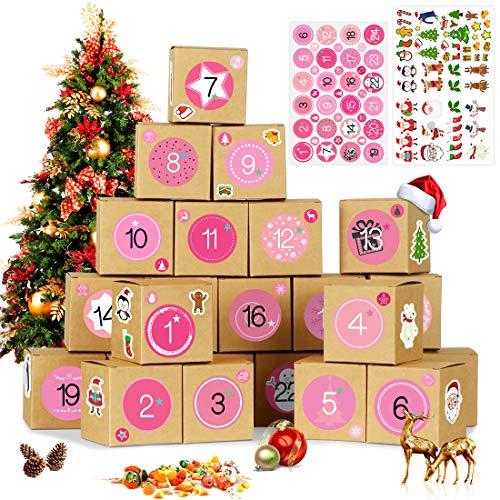 Bluelves Calendario Dell'avvento, 24 Avvento Calendario Avvento da Riempire, 1-24 Adesivi Numerici 72 Natale Adesiv, Calendario dell'Avvento Fai da Te Scatole Carta, Rosa Numeri