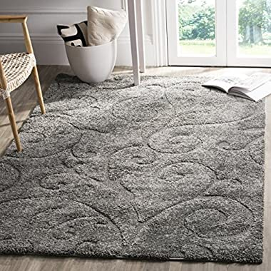 Safavieh Florida Shag Collection SG455-8013 Scrolling Vine Grey Graceful Swirl Area Rug (5'3  x 7'6 )