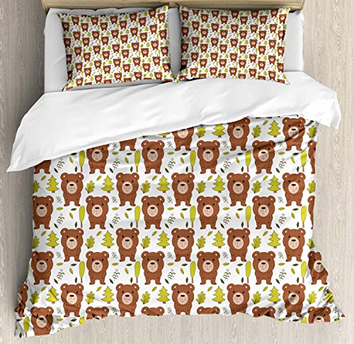 Forest Friends King Bedding Duvet Cover 3 Piece, Simple Children Pattern of Bear and Leaves, Soft Bedding Protects with 1 Comforter Cover 2 Pillowcase, Pale Redwood Yellow Green Olive Green Peach